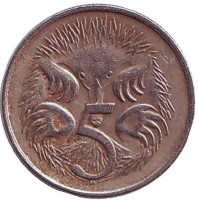 Ехидна. Монета 5 центов. 1979 год, Австралия.