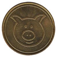 1 zoomi. Свинья. Сувенирный жетон, Германия.