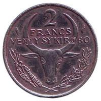 Монета 2 франка. 1983 год, Мадагаскар.