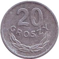 Монета 20 грошей. 1977 год, Польша.