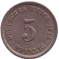 Монета 5 пфеннигов. 1914 год (A), Германская империя.