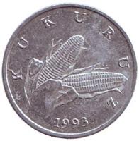 Початок кукурузы. Монета 1 липа. 1993 год, Хорватия. Из обращения.
