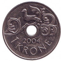 Птица на виноградной лозе. Монета 1 крона. 2004 год, Норвегия.