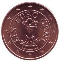 Монета 1 цент, 2008 год, Австрия.