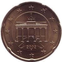Монета 20 центов. 2002 год (F), Германия.
