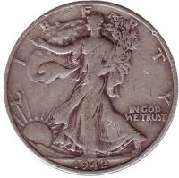 Шагающая свобода. Монета 50 центов. 1942 год (D), США.