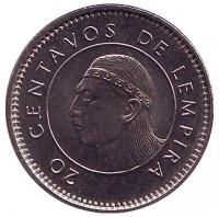 Монета 20 сентаво. 1999 год, Гондурас.