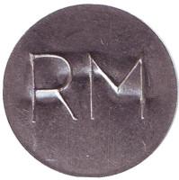 """RM"". Телефонный жетон, Молдавия. (Тип 2 - тонкий шрифт)."