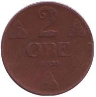 Монета 2 эре. 1921 год, Норвегия.