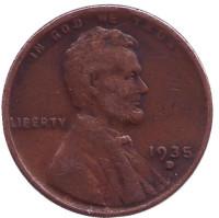 Линкольн. Монета 1 цент. 1935 год (D), США.