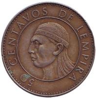 Монета 50 сентаво. 1990 год, Гондурас.