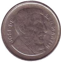Генерал Хосе де Сан-Мартин. Монета 10 сентаво. 1954 год, Аргентина.