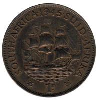 """Корабль """"Дромедарис"""". Монета 1 пенни. 1945 год, Южная Африка."""