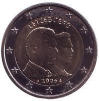 25-летие принца Гийома. Монета 2 евро, 2006 год, Люксембург.