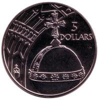 Держава. Монета 5 долларов. 2002 год, Соломоновы острова.