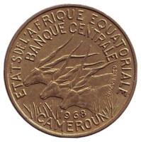 Монета 5 франков. 1968 год, Камерун.