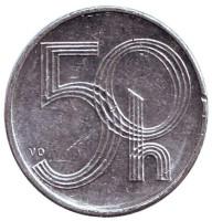 """Монета 50 геллеров. 1993 год, Чехия. (Отметка """"HM"""")"""