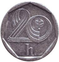 Монета 20 геллеров. 1993 год (HM), Чехия.