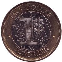 Бонд-коин. Монета 1 доллар. 2016 год, Зимбабве.