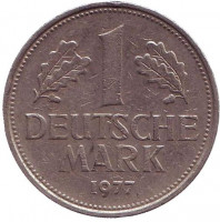 Монета 1 марка. 1977 год (D), ФРГ. Из обращения.