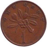 Веточка кофейного дерева. Монета 1 цент, 1969 год, Ямайка.