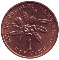 ФАО. Веточка кофейного дерева. Монета 1 цент, 1971 год, Ямайка. Тип 1.