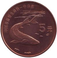 """Осетр. Серия """"Красная книга"""". Монета 5 юаней. 1999 год, Китай."""