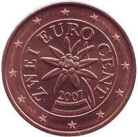 Монета 2 цента, 2007 год, Австрия.