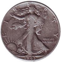 Шагающая свобода. Монета 50 центов. 1943 год (D), США.