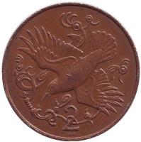 Птица. Монета 2 пенса. 1981 год (AA), Остров Мэн.