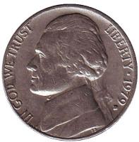 Джефферсон. Монтичелло. Монета 5 центов. 1979 год (D), США.