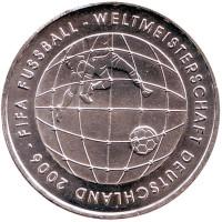 Чемпионат мира по футболу 2006. Монета 10 евро. 2005 год, Германия.