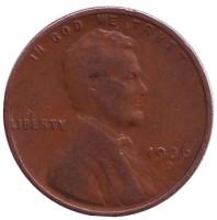 Линкольн. Монета 1 цент. 1936 год (D), США.