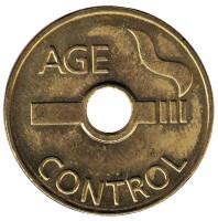 Age Control. Возрастной контроль. Торговый жетон для покупки табачной продукции.