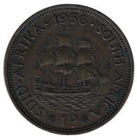"""Корабль """"Дромедарис"""". Монета 1 пенни. 1956 год, Южная Африка."""