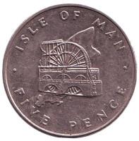 Колесо Лакси. Монета 5 пенсов. 1976 год, Остров Мэн.