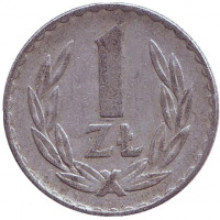 Монета 1 злотый. 1974 год, Польша.