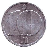 Монета 10 геллеров. 1988 год, Чехословакия.