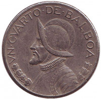 Васко Нуньес де Бальбоа. Монета 1/4 бальбоа. 1996 год, Панама.