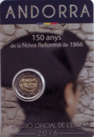 150 лет Новой реформе 1866 года. Монета 2 евро. 2016 год, Андорра.