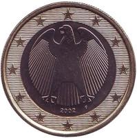 Монета 1 евро. 2002 год (F), Германия.