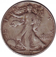 Шагающая свобода. Монета 50 центов. 1944 год (P), США.