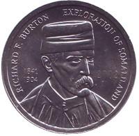 Ричард Френсис Бёртон. Монета 5 шиллингов. 2002 год, Сомалиленд.