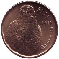 Сокол. Национальный сосуд. Монета 2 доллара. 2014 год, Фиджи.