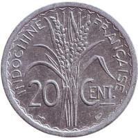 Монета 20 сантимов. 1945 год, Французский Индокитай. XF-aUNC. (Без отметки монетного двора)