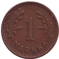1 марка. 1940 год (медь), Финляндия. Редкая.