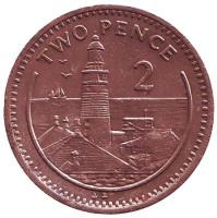 """Маяк. Монета 2 пенса. 1995 год, Гибралтар. (Отметка """"AB"""", Немагнитная)"""