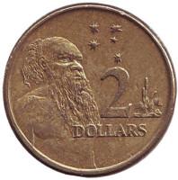 Старейшина аборигенов. Монета 2 доллара. 2000 год, Австралия.