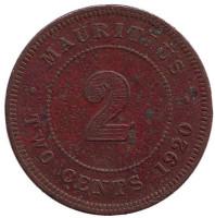Монета 2 цента. 1920 год, Маврикий.