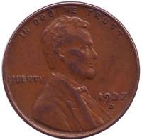 Линкольн. Монета 1 цент. 1937 год (D), США.